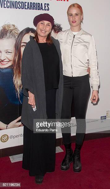 Actress Veronica Forque and daughter Maria Forque attend 'Los vecinos de arriba' premiere at La Latina theatre on April 14, 2016 in Madrid, Spain.