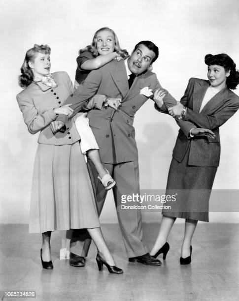 Actress Veronica Lake Mona Freeman Billy DeWolfe and Mary Hatcher in a scene from the movie Isn't It Romantic