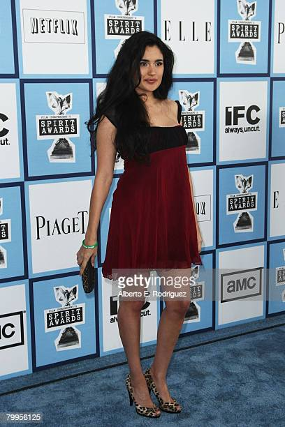 Actress Veronica Loren arrives at the 2008 Film Independent's Spirit Awards held at Santa Monica Beach on February 23 2008 in Santa Monica California