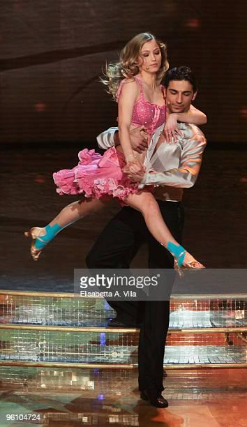 Actress Veronica Olivier and her dance partner Raimondo Todaro perform on the 'Ballando Con Le Stelle' TV show at the RAI Auditorium on January 23...