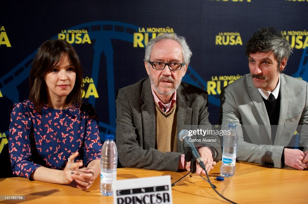Actress Veronica Sanchez, director Emilio Martinez Lazaro and actor Ernesto Alterio attend 'La Montana Rusa' press conference at Princesa cinema on March 12, 2012 in Madrid, Spain.