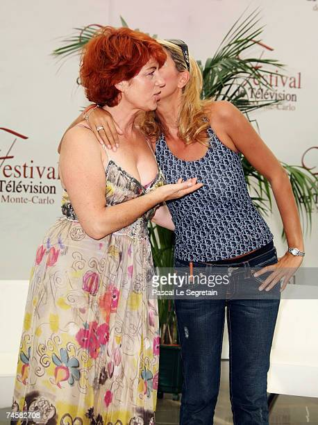 Actress Veronique Genest and TV presenter Rachel Bourlier attend a photocall on the third day of the 2007 Monte Carlo Television Festival held at...