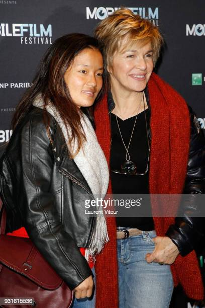 Actress Veronique Jannot and her daughter Migmar attend Mobile Film Festival 2018 at Mk2 Bibliotheque on March 13 2018 in Paris France