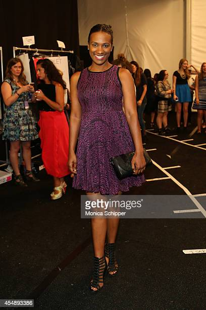 Actress Vicky Jeudy poses backstage at the Nanette Lepore fashion show during MercedesBenz Fashion Week Spring 2015 at The Salon at Lincoln Center on...