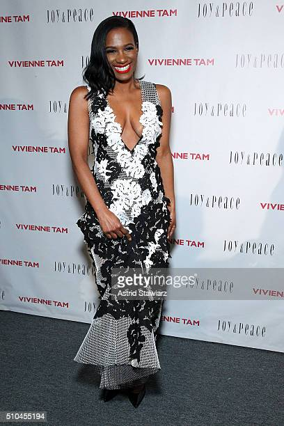 Actress Vicky Jeudy poses backstage at the Vivienne Tam Fall 2016 fashion show during New York Fashion Week The Shows at The Arc Skylight at Moynihan...
