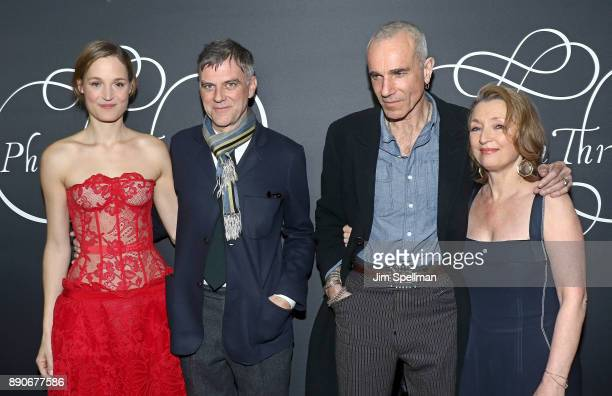 Actress Vicky Krieps director Paul Thomas Anderson actors Daniel DayLewis and Lesley Manville attend the 'Phantom Thread' New York premiere at Harold...