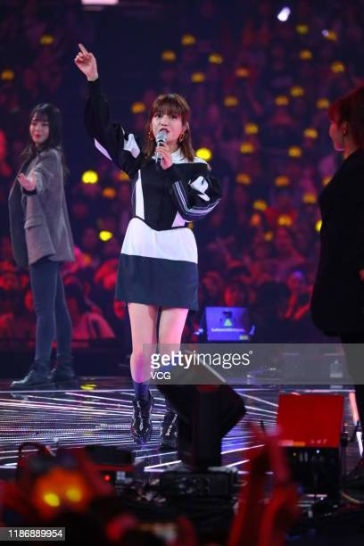 Actress Vicky Zhao Wei performs on stage during a gala held by Hunan Television and Suningcom at Changsha International Convention and Exhibition...
