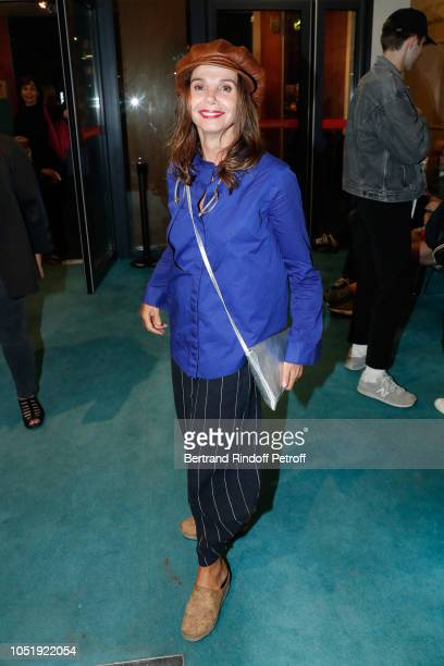 """Actress Victoria Abril attends """"Le Banquet"""" Theater play at Theatre du Rond-Point on October 11, 2018 in Paris, France."""