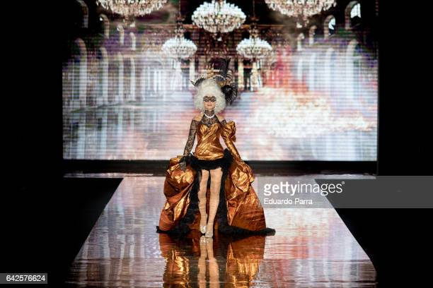 Actress Victoria Abril walks the runway at the Andres Sarda show during the MercedesBenz Madrid Fashion Week Autumn/Winter 2017 at Ifema on February...