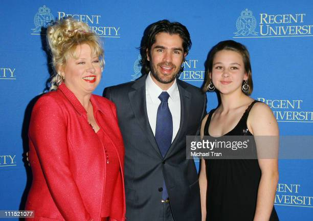 Actress Victoria Jackson and her daughter Audrey Jackson with actor Eduardo Verastegui arrive at the 2nd Annual Candlelight Forum honoring Tim Conway...