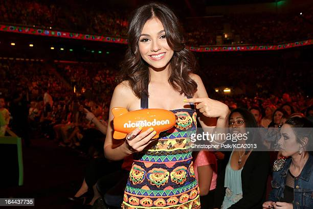 Actress Victoria Justice accepts the Kids' Choice Award for Favorite TV Show at Nickelodeon's 26th Annual Kids' Choice Awards at USC Galen Center on...
