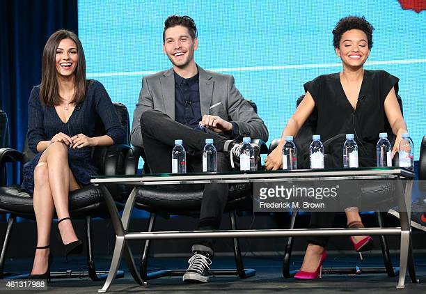 Actress Victoria Justice actor Casey Deidrick and actress Kiersey Clemons speak onstage during the 'Eye Candy ' panel at the MTV portion of the 2015...