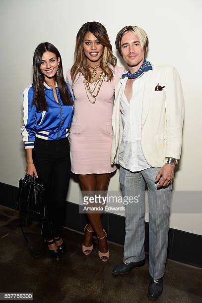 """Actress Victoria Justice, actress/producer Laverne Cox, and actor Reeve Carney attend the premiere of """"FREE CeCe!"""" during the 2016 Los Angeles Film..."""