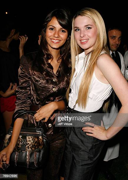 Actress Victoria Justice and actress Kirsten Prout inside the Teen Vogue Young Hollywood Party at Vibiana on Sepember 20 2007 in Los Angeles...