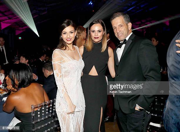 Actress Victoria Justice and designer Kenneth Cole attend amfAR's Inspiration Gala at Milk Studios on October 27 2016 in Hollywood California