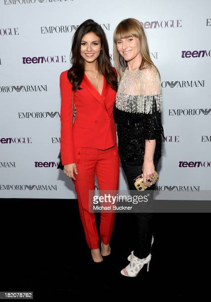 Actress Victoria Justice and EditorinCheif of Teen Vogue Amy Astley attend the 11th Annual the 11th Annual Teen Vogue Young Hollywood Party With...