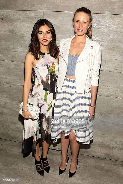 Actress Victoria Justice and model Julie Henderson pose for a photo at the Rebecca Minkoff fashion show during Mercedes-Benz Fashion Week Fall 2015...