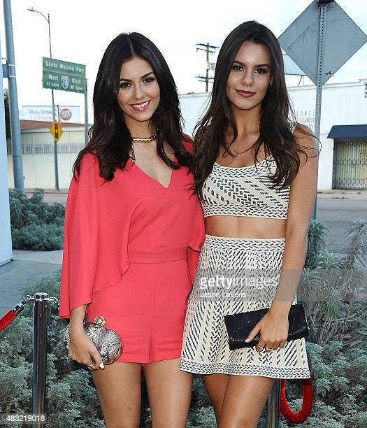 Actress Victoria Justice and sister Madison Grace Reed attend the BCBG Max Azria Resort 2016 collections at Samuel Freeman Gallery on August 6 2015...