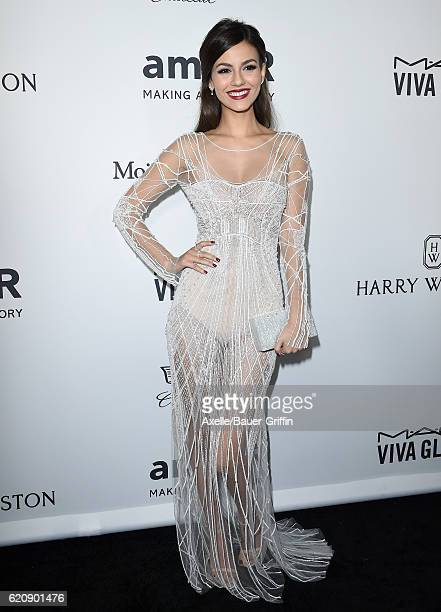 Actress Victoria Justice arrives at amfAR's Inspiration Gala Los Angeles at Milk Studios on October 27 2016 in Hollywood California