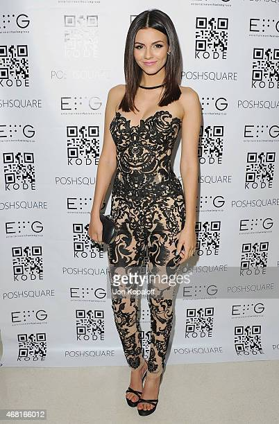 Actress Victoria Justice arrives at Cover Girl Victoria Justice Hosts Kode Mag Spring Issue Release Party at The Standard Hotel on March 12 2015 in...