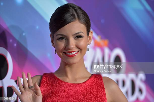 Actress Victoria Justice arrives at Nickelodeon's 2012 TeenNick HALO Awards at Hollywood Palladium on November 17 2012 in Hollywood California The...