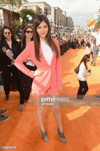 Actress Victoria Justice arrives at the 2012 Nickelodeon's Kids' Choice Awards at Galen Center on March 31 2012 in Los Angeles California