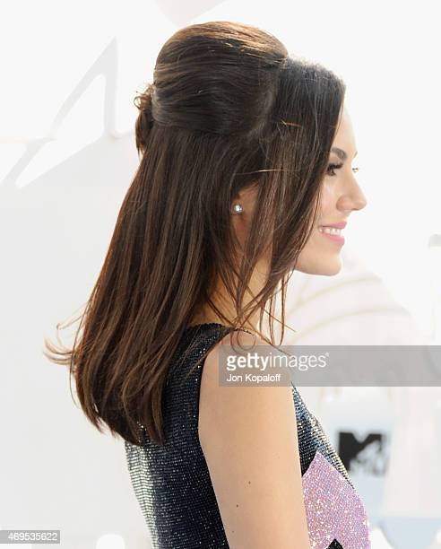 Actress Victoria Justice arrives at the 2015 MTV Movie Awards at Nokia Theatre LA Live on April 12 2015 in Los Angeles California