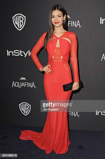 Actress Victoria Justice arrives at the 2016 InStyle And Warner Bros 73rd Annual Golden Globe Awards PostParty at The Beverly Hilton Hotel on January...