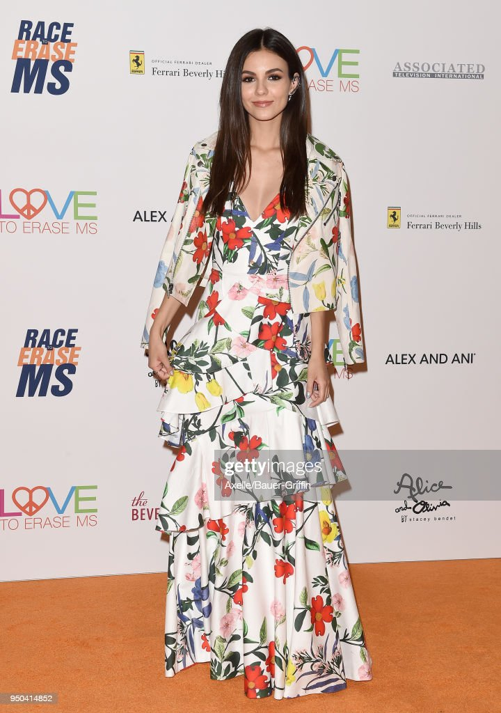 Actress Victoria Justice arrives at the 25th Annual Race to Erase MS Gala at The Beverly Hilton Hotel on April 20, 2018 in Beverly Hills, California.