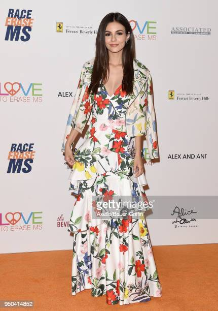 Actress Victoria Justice arrives at the 25th Annual Race to Erase MS Gala at The Beverly Hilton Hotel on April 20 2018 in Beverly Hills California