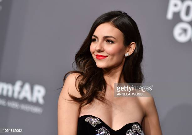 Actress Victoria Justice arrives at The amfAR Gala New York the Foundations 21st annual benefit for AIDS research during New York Fashion Week at...