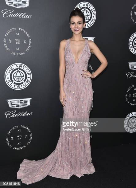 Actress Victoria Justice arrives at The Art of Elysium's 11th Annual Celebration Heaven at Barker Hangar on January 6 2018 in Santa Monica California