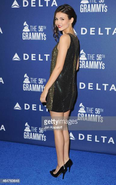 Actress Victoria Justice arrives at the Delta Air Lines 2014 GRAMMY Weekend Private Reception And Performance With Lorde at Soho House on January 23...