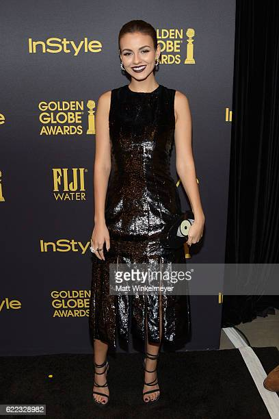 Actress Victoria Justice arrives at the Hollywood Foreign Press Association and InStyle celebrate the 2017 Golden Globe Award Season at Catch LA on...