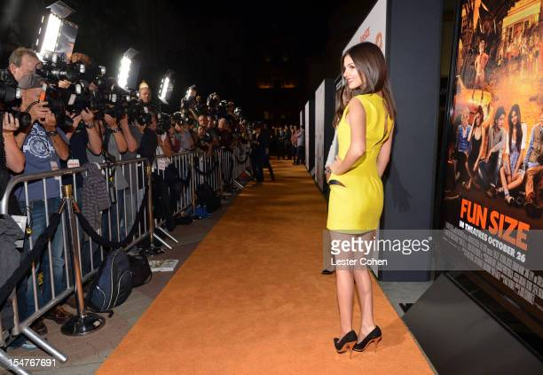 Actress Victoria Justice arrives at the Los Angeles premiere of Fun Size at Paramount Studios on October 25 2012 in Hollywood California