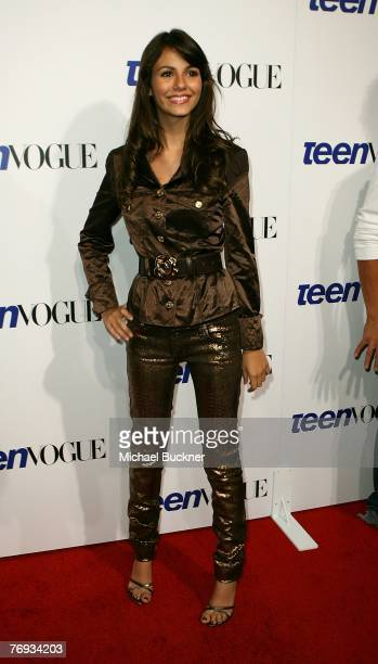 Actress Victoria Justice arrives at the Teen Vogue Young Hollywood Party at Vibiana on September 20 2007 in Los Angeles California