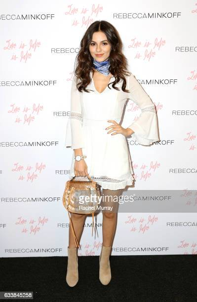 "Actress Victoria Justice attended designer Rebecca Minkoff's Spring 2017 ""See Now Buy Now"" Fashion Show at The Grove on February 4 2017 in Los..."