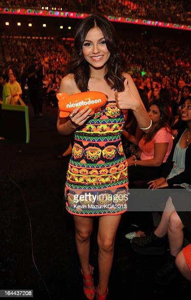 Actress Victoria Justice attends Nickelodeon's 26th Annual Kids' Choice Awards at USC Galen Center on March 23 2013 in Los Angeles California