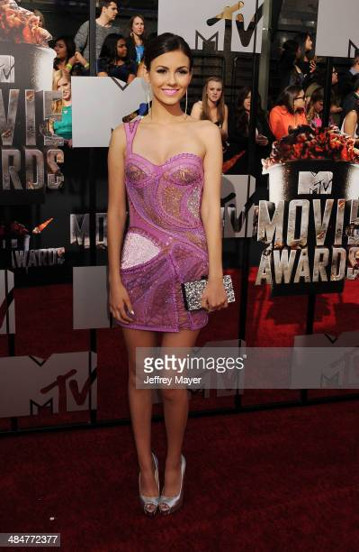 Actress Victoria Justice attends the 2014 MTV Movie Awards at Nokia Theatre L.A. Live on April 13, 2014 in Los Angeles, California.