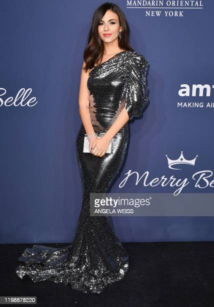 US actress Victoria Justice attends the amfAR Gala New York at Cipriani Wall Street in New York City on February 5 2020