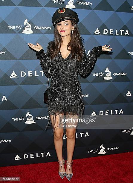 Actress Victoria Justice attends the Delta Air Lines celebrates 2016 GRAMMY Weekend with 'Sites and Sounds' private performance with Leon Bridges on...