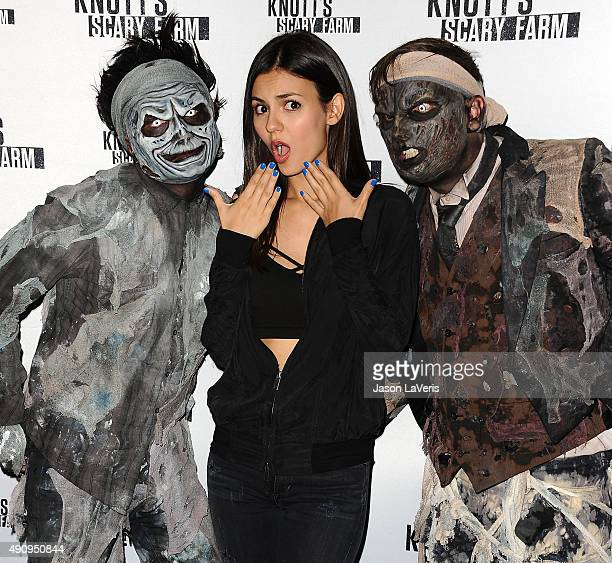 Actress Victoria Justice attends the Knott's Scary Farm black carpet at Knott's Berry Farm on October 1 2015 in Buena Park California