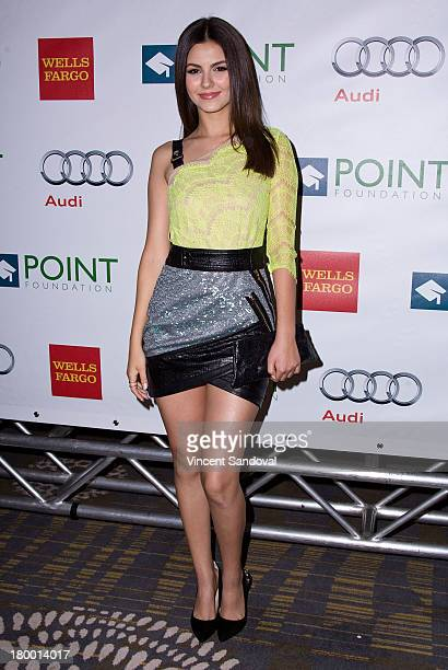 Actress Victoria Justice attends the Voices On Point musical gala benefiting the Point Foundation at the Hyatt Regency Century Plaza on September 7,...