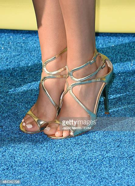 Actress Victoria Justice fashion detail attends the Teen Choice Awards 2015 at the USC Galen Center on August 16 2015 in Los Angeles California