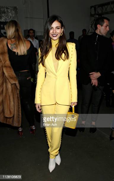 Actress Victoria Justice is seen during the Pamella Roland fashion show during New York Fashion Week at Pier 59 on February 07 2019 in New York City