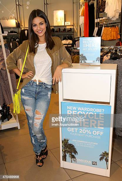 Actress Victoria Justice recycles clothing for DoSomethingorg and HM's Comeback Clothes campaign on April 14 2015 in West Hollywood California