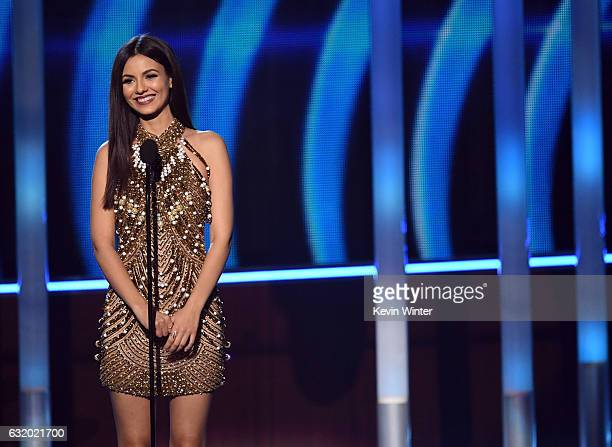 Actress Victoria Justice speaks onstage during the People's Choice Awards 2017 at Microsoft Theater on January 18 2017 in Los Angeles California