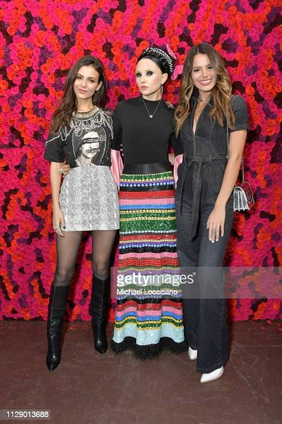Actress Victoria Justice Stacey Bendet and Madison Reed attend the Alice Olivia By Stacey Bendet presentation during New York Fashion Week at The...