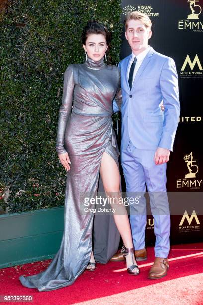 Actress Victoria Konefal and her boyfriend attend the 2018 Daytime Creative Arts Emmy Awards at Pasadena Civic Center on April 27 2018 in Pasadena...