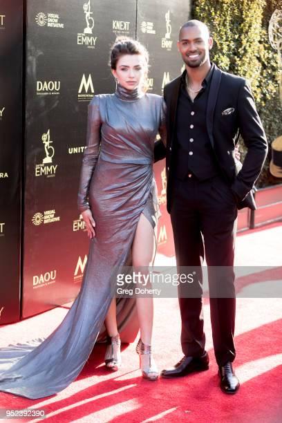 Actress Victoria Konefal and Lamon Archey attend the 2018 Daytime Creative Arts Emmy Awards at Pasadena Civic Center on April 27 2018 in Pasadena...